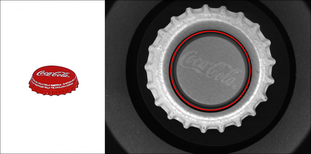 PCCDシリーズで撮像したサンプル画像(赤枠が境界線)
